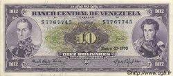 10 Bolivares VENEZUELA  1970 P.045g SUP+