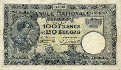 100 Francs - 20 Belgas BELGIQUE  1930 P.102 TTB+