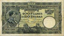 100 Francs - 20 Belgas BELGIQUE  1932 P.102 TTB+