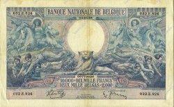 10000 Francs - 2000 Belgas BELGIQUE  1938 P.105 TTB