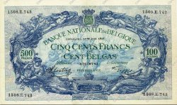 500 Francs - 100 Belgas BELGIQUE  1943 P.109 SUP