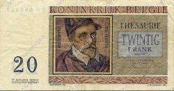 20 Francs BELGIQUE  1956 P.132 TTB