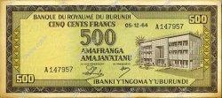 500 Francs BURUNDI  1964 P.13 SUP+