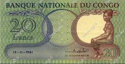 20 Francs CONGO (RÉPUBLIQUE)  1961 P.004a SUP à SPL