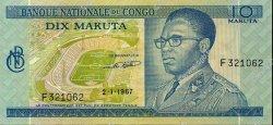 10 Makuta CONGO  1967 P.09a SPL