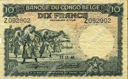 10 Francs CONGO BELGE  1948 P.14E B+
