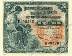 5 Francs CONGO BELGE  1952 P.21 SPL