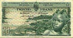 20 Francs CONGO BELGE  1957 P.31 TTB+