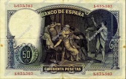 50 Pesetas ESPAGNE  1931 P.082 TTB