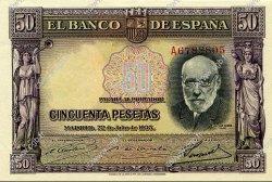 50 Pesetas ESPAGNE  1935 P.088 pr.NEUF