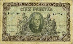 100 Pesetas ESPAGNE  1940 P.118 B à TB