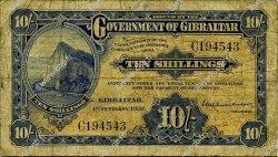 10 Shillings GIBRALTAR  1937 P.14a B+