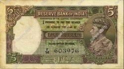 5 Rupees INDE  1937 P.018a TTB