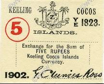 5 Rupees ÎLES KEELING COCOS  1902 PS.128 pr.NEUF