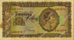 20 Frang LUXEMBOURG  1943 P.42a TTB