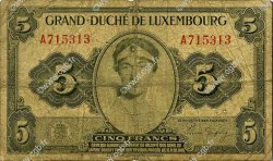 5 Francs LUXEMBOURG  1944 P.43a B+