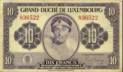 10 Francs LUXEMBOURG  1944 P.44a TTB