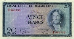 20 Francs LUXEMBOURG  1955 P.49a SUP