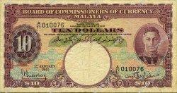 10 Dollars MALAYA  1940 P.01 TB