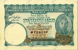 25 Cents MALAYA  1940 P.03 pr.SPL