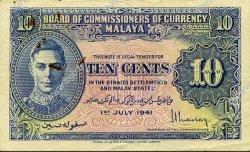 10 Cents MALAYA  1941 P.08 TTB