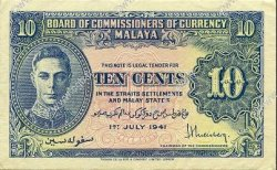 10 Cents MALAYA  1941 P.08 SUP