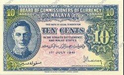 10 Cents MALAYA  1941 P.08 pr.NEUF