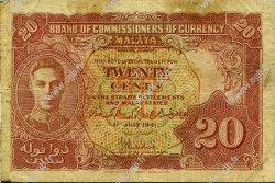 20 Cents MALAYA  1941 P.09a B+