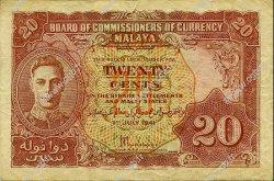 20 Cents MALAYA  1941 P.09a TTB