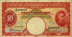 10 Dollars MALAYA  1941 P.13 TB