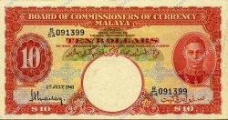 10 Dollars MALAYA  1941 P.13 SUP