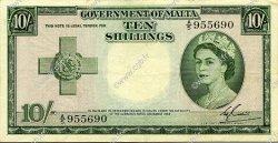 10 Shillings MALTE  1954 P.23a TTB+