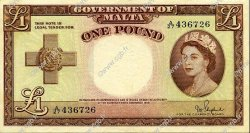 1 Pound MALTE  1954 P.24b TTB