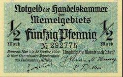 1/2 Mark MEMEL  1922 P.01 NEUF
