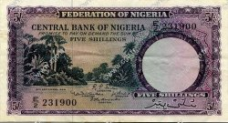 5 Shillings NIGERIA  1958 P.02 pr.SUP