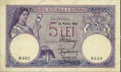 5 Lei ROUMANIE  1920 P.019a TTB+