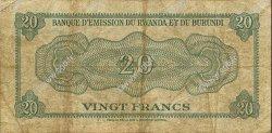 20 Francs RWANDA  1962 P.01 pr.TB