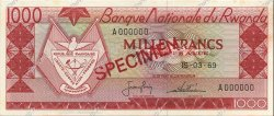 1000 Francs RWANDA  1969 P.10s1 SPL