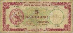 5 Scellini SOMALIE  1962 P.01a TB
