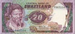 20 Emalangeni SWAZILAND  1985 P.11b NEUF