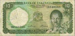 10 Shillings TANZANIE  1966 P.02b TB