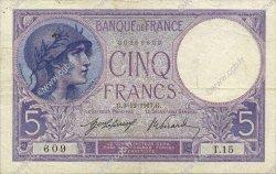 5 Francs VIOLET FRANCE  1917 F.03.01 TTB