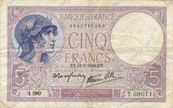 5 Francs VIOLET modifié FRANCE  1939 F.04.01 TB+