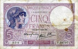 5 Francs VIOLET modifié FRANCE  1939 F.04.02 TB