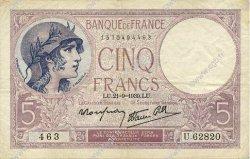 5 Francs VIOLET modifié FRANCE  1939 F.04.09