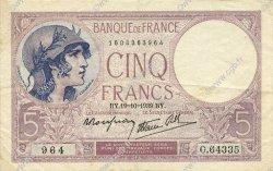 5 Francs VIOLET modifié FRANCE  1939 F.04.12 TTB