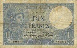 10 Francs MINERVE modifié FRANCE  1939 F.07.01 B+