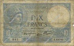 10 Francs MINERVE modifié FRANCE  1939 F.07.03 B