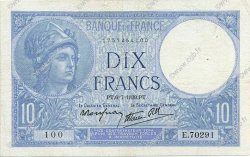 10 Francs MINERVE modifié FRANCE  1939 F.07.04 TTB