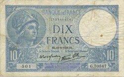 10 Francs MINERVE modifié FRANCE  1939 F.07.05 TB+